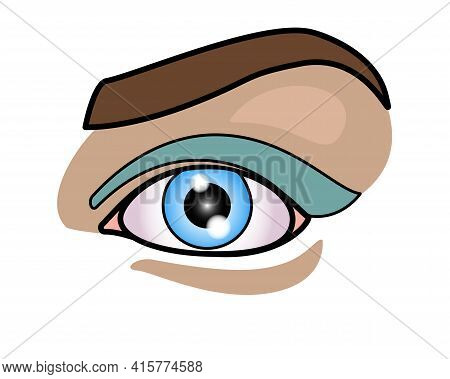 Girl's Eye And Eyebrow - Full Color Stock Illustration. Beautiful Female Eye With Makeup. Blue Eyes