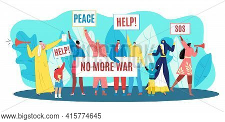 Protest For Peace, Demonstration Against War, Vector Illustration. Man Woman People Character Hold C