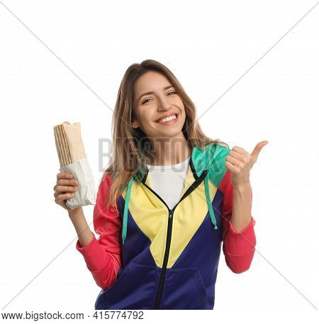 Young Woman With Delicious Shawarma On White Background