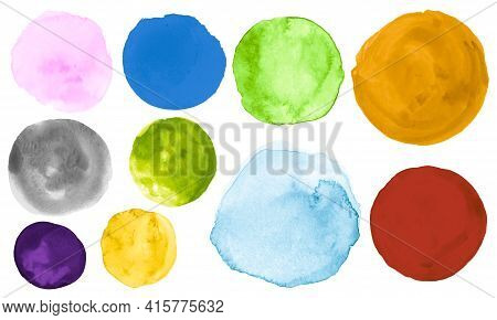 Colorful Watercolor Round Collection. Art Creative Spot Drawing. Hand Paint Background With Blot On