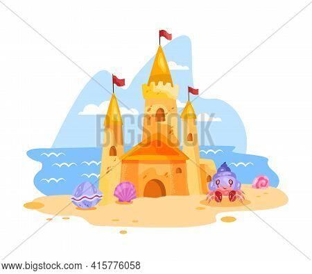 Sand Castle Vector Illustration, Summer Beach Cartoon Landscape, Towers, Crab, Shell, Flag, Clouds.