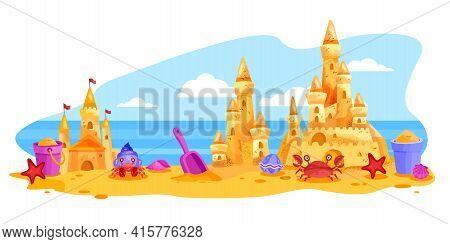 Sand Castle Vector Summer Beach Landscape, Towers, Bucket, Shovel, Sky, Ocean, Clouds On Background.