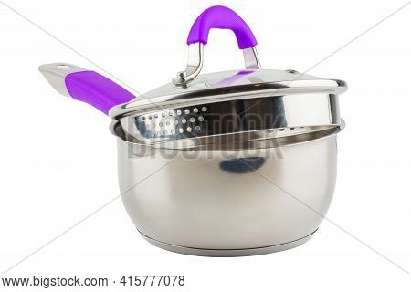 Small Shiny Stainless Steel Pot With Purple Handle And Glass Lid - Isolated On White