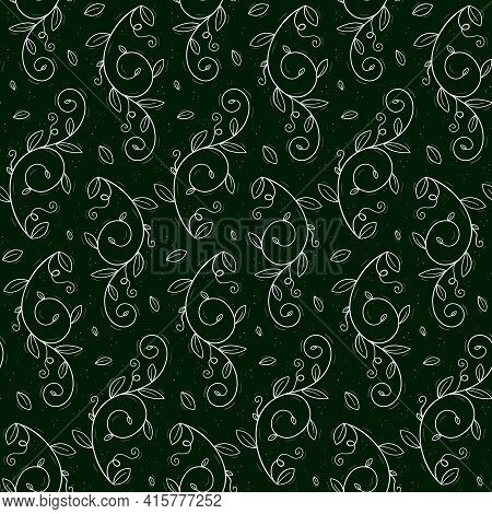 Seamless Repeating Pattern Of A Climbing Plant Such As Peas Or Creepers With Tendrils And Leaves. Co