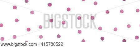 White Watercolor Circles. Cute Rounds Design. Color Vintage Spots Background. Seamless Vector Waterc