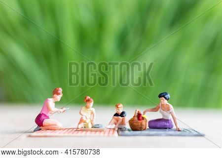 Couple Of Lesbian Ladies Having Fun In The Park With Children