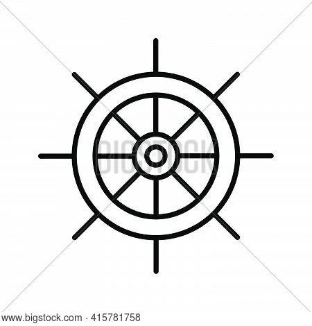 Helm Outline Icon. Navigation Sea Ocean Symbol. Ship Steering Wheel. Boat Rudder Pictogram. Nautical