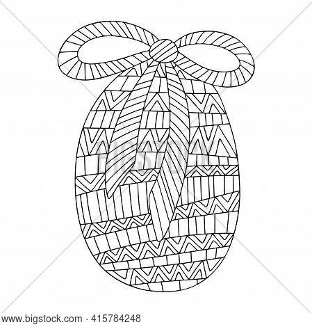 Ornamental Easter Egg With Bow Zen Art Stock Vector Illustration. Springtime Holiday Ornamental Colo