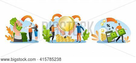 Money Credit With Cash, Vector Illustration. People Character Make Banking Payment, Finance Business