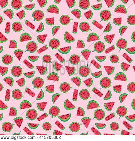 Watermelon Slices Juicy Summer Mood Seamless Pattern Vector. Cartoon Funny Hand Drawn Fruit Slices O