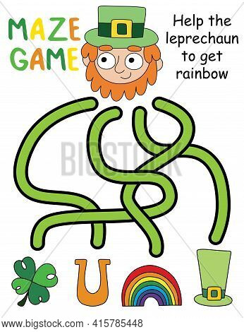 Maze Game With Leprechaun Stock Vector Illustration. Help The Leprechaun To Get Rainbow Educational