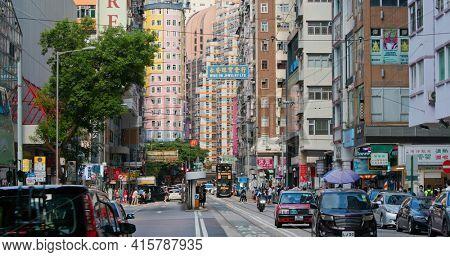 Wan Chai, Hong kong 06 September 2020: city street in Hong Kong