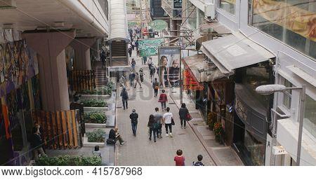 Central, Hong Kong 08 February 2021: Street in Hong Kong