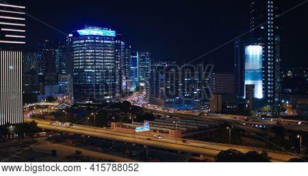 Kowloon Bay, Hong Kong 13 October, 2020: Hong Kong city night view