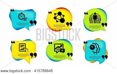 Group, Integrity And Accounting Icons Simple Set. Speech Bubble With Quotes. Quick Tips, Document An