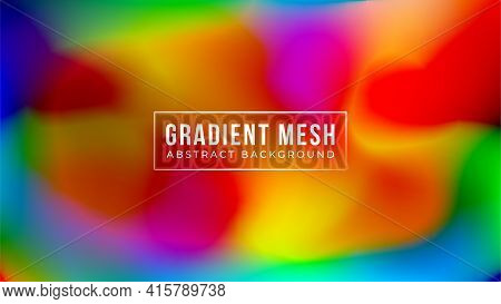 Futuristic Abstract Blurred Gradient Mesh Background In Vibrant Rainbow Colors. Colorful Smooth Bann