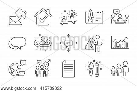Idea, Business Hierarchy And Share Mail Line Icons Set. Start Business, Recruitment And Sms Signs. P