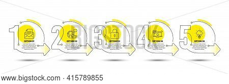 Energy, Vip Access And Mail Correspondence Line Icons Set. Timeline Process Infograph. Lock Sign. Li