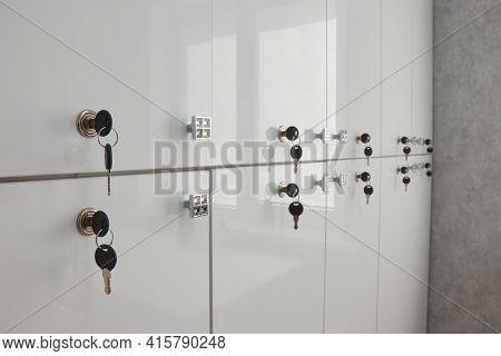 Locker Room Lockers With Keys And Locks Close-up, Blurred Background