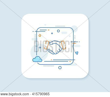 Handshake Line Icon. Abstract Square Vector Button. Hand Gesture Sign. Business Deal Palm Symbol. Ha