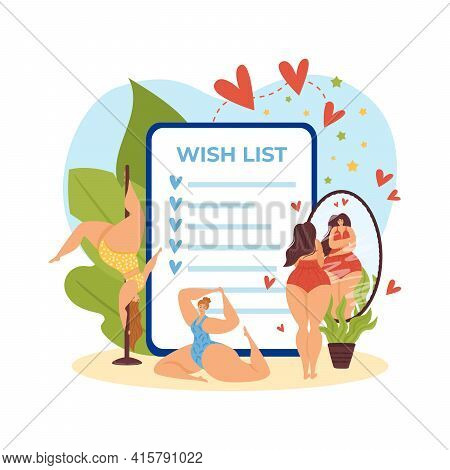 Flat Wish List For Body Positive Girl People, Vector Illustration. Cartoon Daily Planner For Woman P