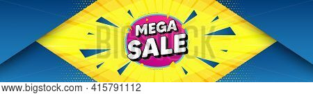 Mega Sale Bubble. Abstract Background With Offer Message. Discount Banner Shape. Coupon Sticker Icon