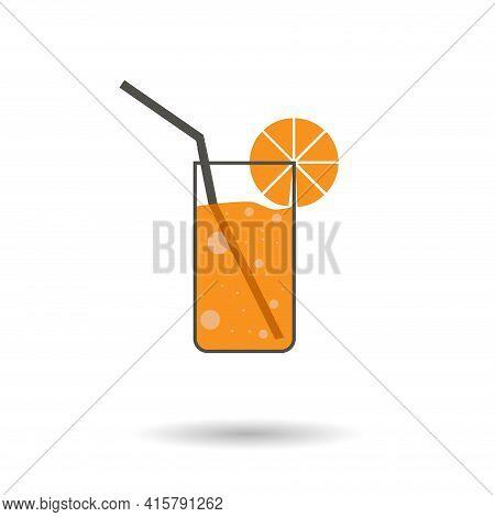 Flat Orange Soda. Orange Juice Glass Simple Vector Icon. Soda Isolated Icon.