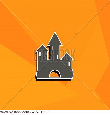 Cartoon Castle Simple Vector Icon. Castle Isolated Icon.