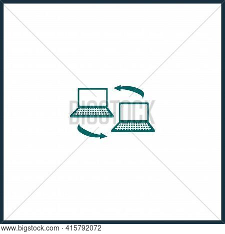 Peer To Peer Simple Vector Icon. Online Collaboration Isolated Icon.