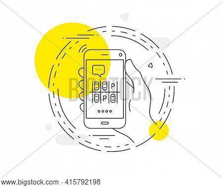 Parking Place Line Icon. Mobile Phone Vector Button. Car Park Sign. Transport Symbol. Parking Place