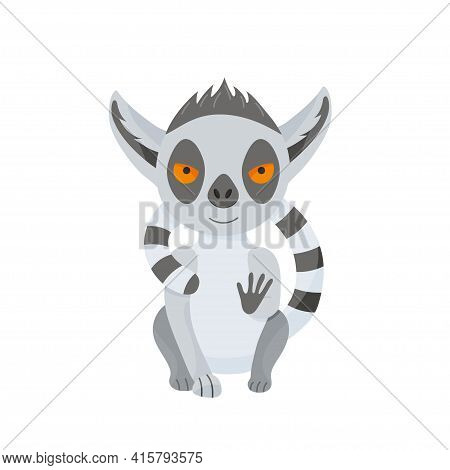 Calm Lemur Sits And Hugs Itself With A Fluffy Tail. Cute Baby Animal In Cartoon Style. Vector Illust