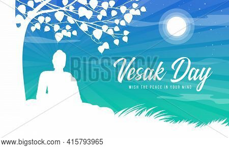 Vesak Day With White Silhouette The Lord Buddha Meditated And Enlightened Under The Bodhi Tree On Th