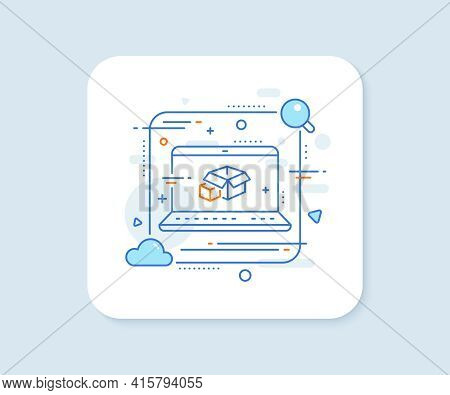 Box Line Icon. Abstract Vector Button. Delivery Parcel Sign. Packing Boxes Symbol. Packing Boxes Lin