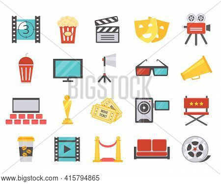 Modern Cinema Icons In Flat Style. The Concept Of Filming And Premiere In The Cinema. Vector Illustr