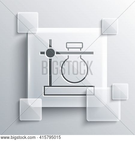 Grey Glass Test Tube Flask On Stand Icon Isolated On Grey Background. Laboratory Equipment. Square G