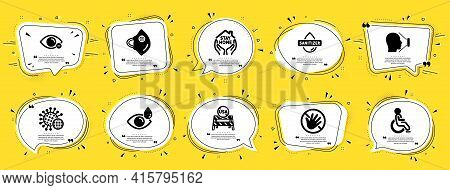 Medical Icons Set. Speech Bubble Offer Banners. Yellow Coupon Badge. Included Icon As Coronavirus, M