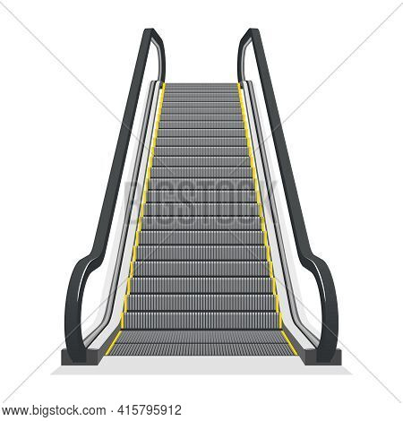 Escalator Isolated On White Background. Modern Architecture Stair, Lift And Elevator, Vector Illustr