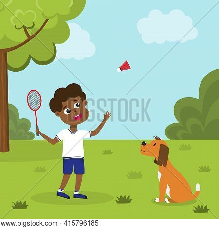 Boy Playing Badminton. African American Kid With Badminton Racket And Shuttlecock Playing On Green L