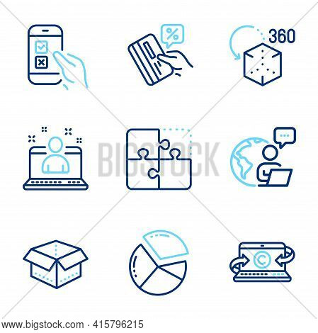 Technology Icons Set. Included Icon As Open Box, Copywriting Notebook, Credit Card Signs. Augmented