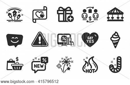 Say Yes, Sale Bags And Online Shopping Icons Simple Set. Fireworks Rocket, Candy And Smile Face Sign
