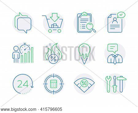 Business Icons Set. Included Icon As 24 Hours, 5g Wifi, Messenger Signs. Shopping, Hot Loan, Support