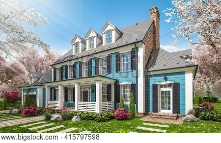 3D Rendering Of Modern Classic House In Colonial Style In Spring Day