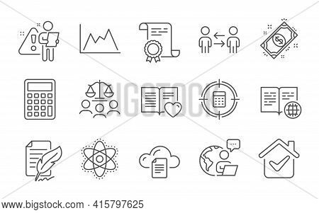 Feather Signature, Teamwork Business And Internet Book Line Icons Set. Court Jury, Diagram And Calcu