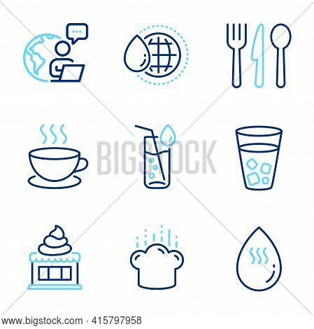 Food And Drink Icons Set. Included Icon As Water Glass, World Water, Food Signs. Ice Cream, Ice Tea,