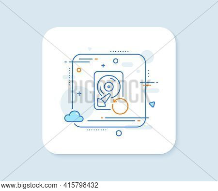 Recovery Hdd Line Icon. Abstract Square Vector Button. Backup Data Sign. Restore Information Symbol.
