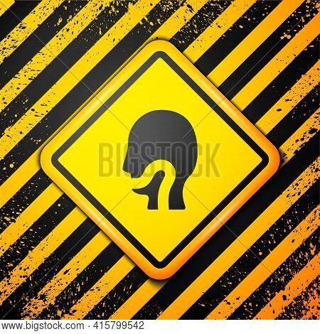 Black Sore Throat Icon Isolated On Yellow Background. Pain In Throat. Flu, Grippe, Influenza, Angina