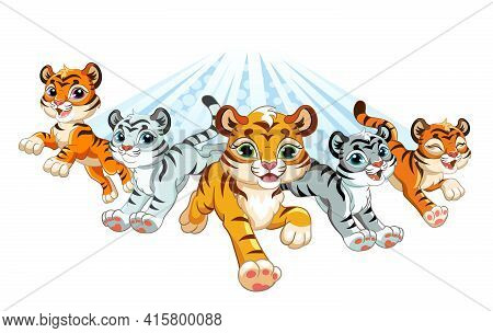 Five Cute Brave Tigers Running Forward. Cartoon Characters. Vector Illustration. For Print And Desig