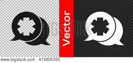 Black Dialogue With The Doctor Icon Isolated On Transparent Background. Doctor And Patient Dialog. C