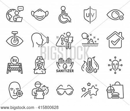 Medical Icons Set. Included Icon As Problem Skin, Myopia, Medical Mask Signs. Face Biometrics, Eu Cl