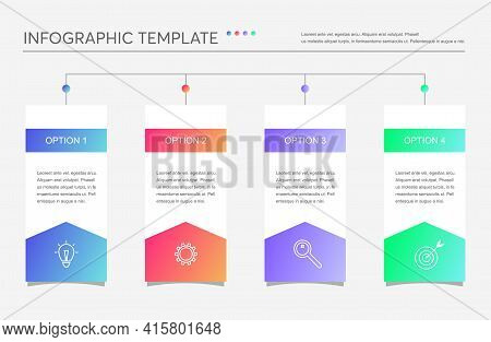 Minimalistic Business Infographics With 4 Steps, Options. Creative Vector Linear Infographic With Fo
